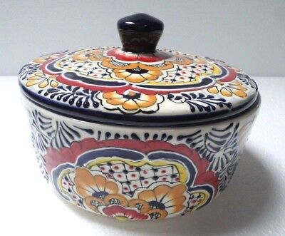 Mexican Green Peacock Pottery Talavera Tortilla Holder Warmer Kitchen Canister