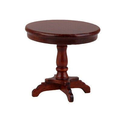 Dollhouse Miniature Furniture Wood Round Dining Table Kitchen Room Table 1:12