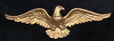 """Gold Painted Vintage Cast Iron American Eagle Wall Hanging 18 1/4""""  Wide"""