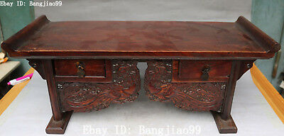 """21"""" China Natural Huanghuali Wood Carving Wealth Wishful Ruyi Table Desk Statue"""