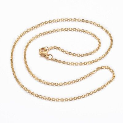 10 pc of 18.1 inches gold finish stainless steel cable chain necklaces -s310