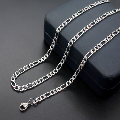 316L Stainless Steel 2mm/3mm/4mm/5mm Silver Figaro Chain NK Links Chain Necklace