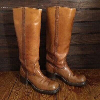 87a9fe2bd70 Vintage 70s Campus Knee High Stacked Wood Heel Boots Size 7M USA Distressed