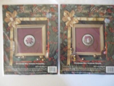 "2 True Colors Ribbon Embroidery Christmas Mini 6""×6"" Craft Beginner Level Kit"