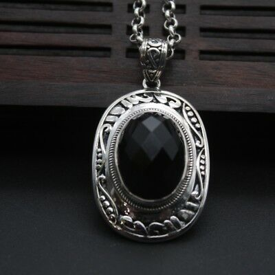 New Sterling S925 Silver Pendant Luck Black Agate 42x24mm Pendant Only