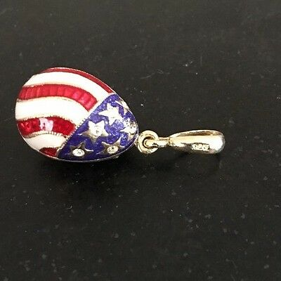 Egg Pendant 925 Sterling Silver Red White Blue Enamel Crystals USA Patriotic