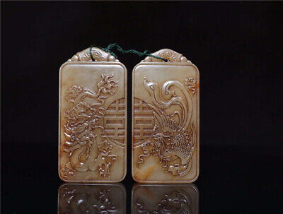 A pair China old antique handcarved Natural hetian jade dragon Phoenix Pendant