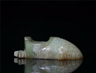 China old antique handcarved hetian jade Tadpole pattern lucky Ring Pendant