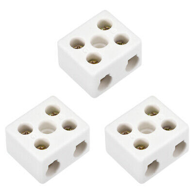 2 Way Ceramics Terminal Blocks High Temp Porcelain Connectors 31x27x19.5mm 3 Pcs