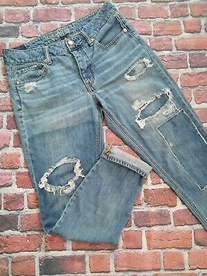 ff25a91af51 American Eagle Tomgirl Button Fly Womens Jeans 4 Distressed Patched Denim