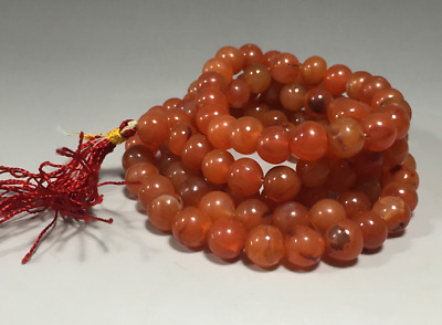 China old antique handcarved Natural red agate 108 Beads Bracelet necklace