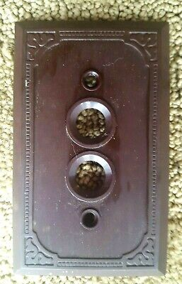 Switchplate cover, one gang push button, brown, decorative, vintage