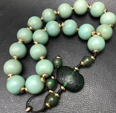 China old antique carved Light green agate Eighteen sons beads Bracelet necklace