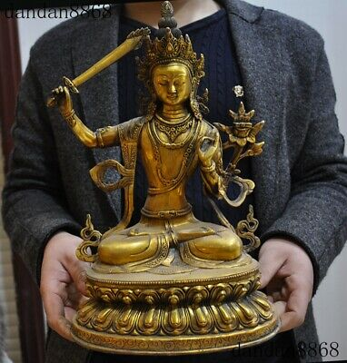 Statues & Sculptures 15 Bronze Gild Silver Colored Drawing Buddhism Hold Sword Manjusri Guanyin