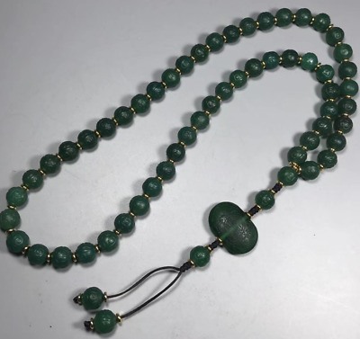 China old antique handcarved Natural green agate 108 Beads Necklace Pendant