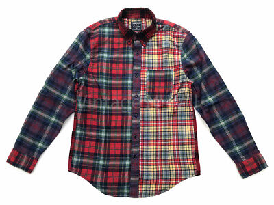 Abercrombie Fitch AF Jeans Mens M Red Multi Patchwork Check Plaid Flannel Shirt