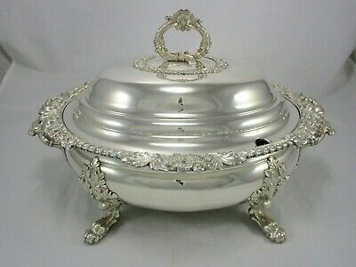 """OSP Old Sheffield Silver Plate Soup Tureen 16"""" Griffons Lions & Paw Feet c1820"""