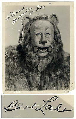 Bert Lahr 8x10 Signed Photo as the Lion/ Wizard of Oz