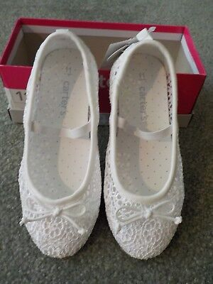 Carter/'s Ruby5 Toddler Sizes 5-11 Girls Ballet Flats White Shoes Lace Slip On