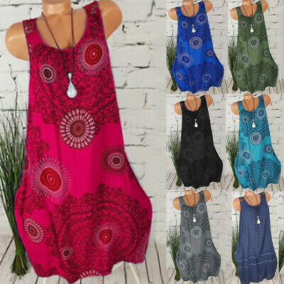 Ladies Summer Casual Loose Sundress Womens Holiday Ethnic Vest Dress Plus Size