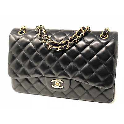 9b9c8382f3d4 Authentic CHANEL Black Quilted Lambskin Leather Classic Jumbo Double Flap  Bag