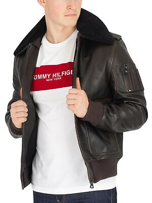 new style 366aa 79cc1 TOMMY HILFIGER UOMO Giacca in pelle Shearling Aviator, Marrone