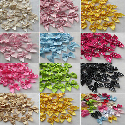 20-100 Pcs dots Satin Ribbon Bow Sewing Craft Flower Home Party Decoration