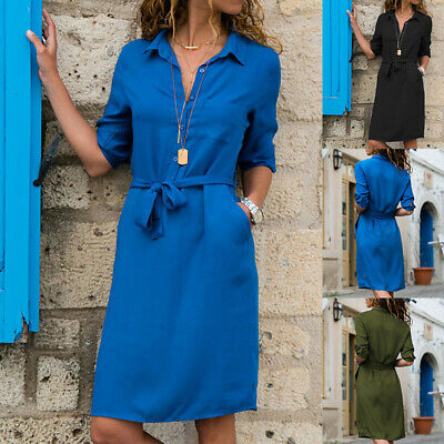 Ladies V Neck Button Belted Shirt Women Casual Loose Party Holiday Clothes Dress