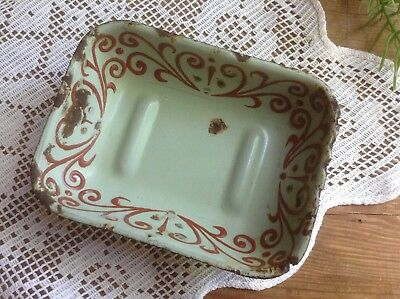 Vintage Old Enameled Soap Dish Rustic Soap Holder Light Green Enamel Small Bowl