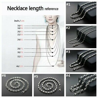 1.8-10mm Men Women 316L Stainless Steel Silver Multi-style Chain Necklace Gift