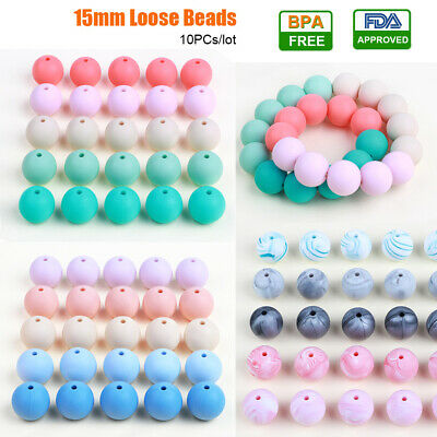 10PC 15mm Silicone Loose Beads Ball for Baby Teether Pacifier Chain DIY Necklace