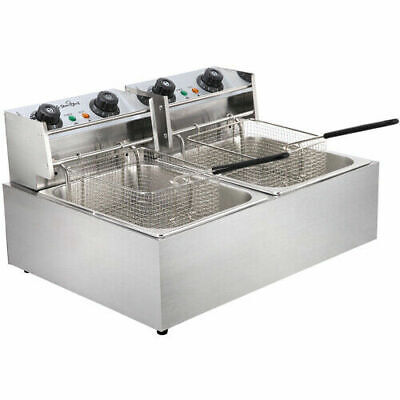 5 Star Chef Commercial Electric Deep Twin Fryer Frying Basket Chip Cooker Fry