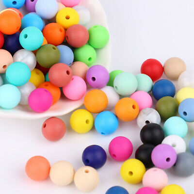 40PC 12MM Food Grade Silicone Loose Beads Ball for Teether Necklace Bracelet DIY