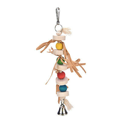Parrot Pet Bird Chew Toy Wooden Straw with Bell Cage Accessory 32cm RI