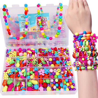 Girls Kids DIY Bracelet Arts Craft Make Own Beads Jewellery Making Set Box Kit