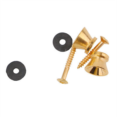 2 Pcs Guitar Strap Buttons Strap Locks Straplocks for Electric Guitar Parts Gold