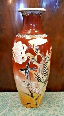 """Large 15"""" Antique Japanese Hand Painted Vase Birds & Flowers Good Condition"""