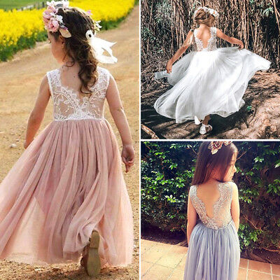 UK Kid Princess Baby Flower Girl Dress Lace Backless Party Gown Bridesmaid Dres