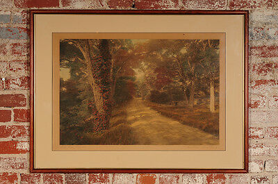 "Wallace Nutting ""Dell Dale Rd"" Hand Painted Landscape Photograph-22x32"" Signed"