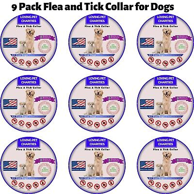 9 Pack Flea And Tick Collar For Dogs - 8 Months Protection - One Size Fits All