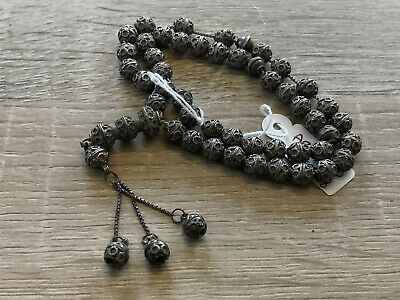 Antique silver 900 sterling - old Vintage Islamic Prayer Beads Tasbih Muslim