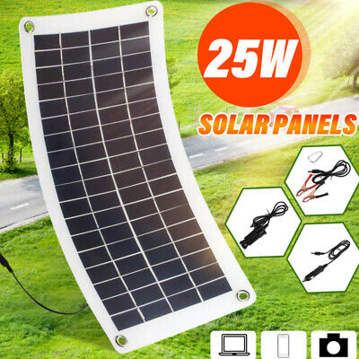 25W 12V Car Boat Yacht Solar Panel Trickle Battery Charger Semi Flexible Outdoor