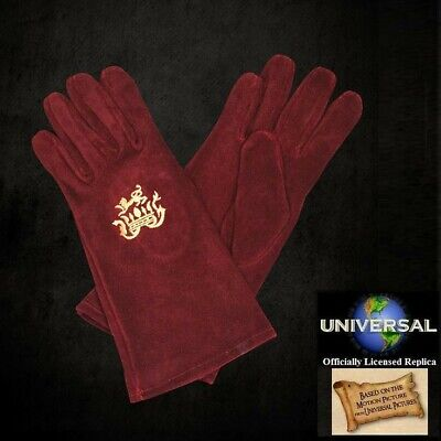 Red Suede 'King John' Gloves Officially Licensed Robin Hood Item from Universal