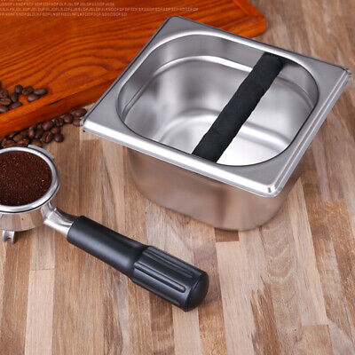 Coffee Knock Box Container Tamper Bin Tray Waste Tamp Kitchen Stainless Steel