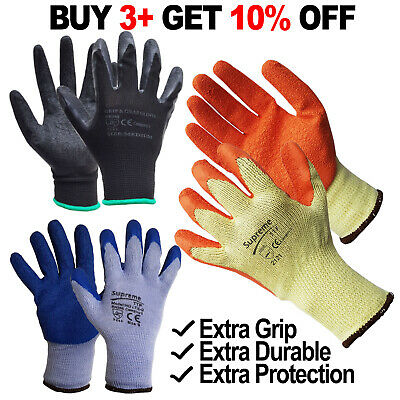 240 Pairs Latex Coated Rubber Work Gloves Builders Safety Mens Construction Grip