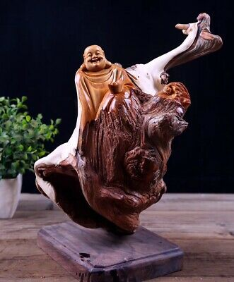 Chinese Old Arborvitae Yabai wood Hand-carved Maitreya Happy Buddha Statue 10151