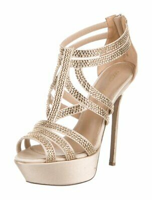 a701bebb9e52 Sergio Rossi Swarovski Crystal Embellished Satin Sandals Shoes 36.5 Uk 3.5  Us6.5