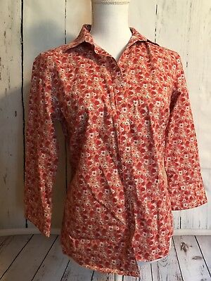 bc2fbee65 NWT Lands End Womens No Iron Supima Shirt Button Down Floral Size 2 Blouse  Top