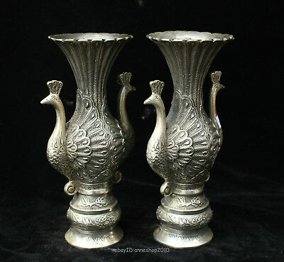 18CM Collectible Chinese old silver Handmade Animal Peacock vase bottle ACXN