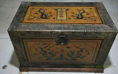 85CM Collect Chinese Old Lacquer ware wood Box Handmade Beast Dragon AZAO